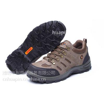 华品HP-6001厂家防砸防穿刺休闲牛皮透气工地鞋钢包头劳保鞋现货