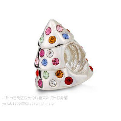 彩色水晶松树奇妙珠饰品厂家直销 个性独特时尚新款上市 纯银925女性饰品