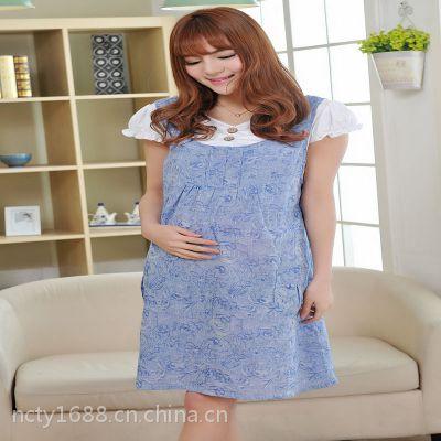 供应韩版时尚夏装 孕妇甜美连衣裙 提花蝴蝶袖 假两件套 厂家直销品牌