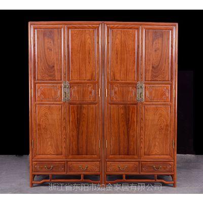 东阳红木家具非洲花梨木明式衣柜中式卧室红木家具全实木四门衣柜