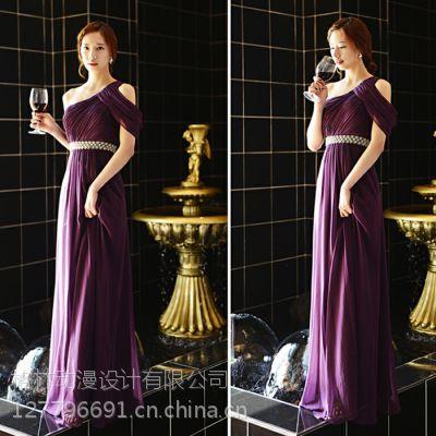 出租2015新款新娘结婚伴娘团礼服 葡萄紫色单肩知性晚礼服