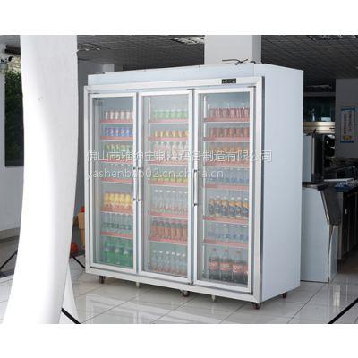 超市大型冰柜 可包边的超市饮料冰箱 3门平头分体饮料冷藏柜