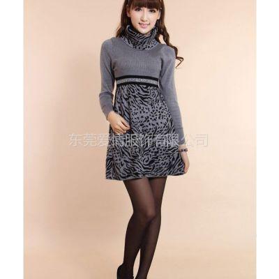 供应秋冬羊毛连衣裙 高领长袖韩版套头修身 女式连衣毛衣裙