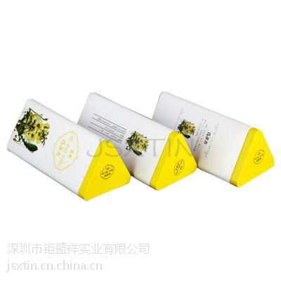 花草茶铁罐包装 袋泡普洱茶马口铁盒三角铁盒