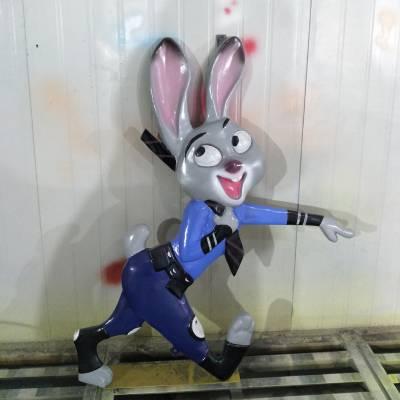 玻璃钢狐尼克雕塑 树脂彩绘朱迪兔 疯狂动物城卡通动漫景观雕塑