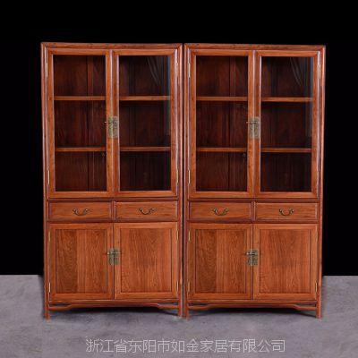 东阳厂家直销红木家具非洲花梨明式二组合书柜高档红木书房家具组合书柜