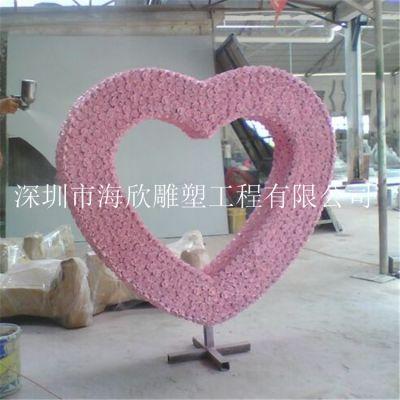婚纱摄影道具爱情主题玻璃钢心形雕塑 创意爱心礼盒成品模型厂家直销定做