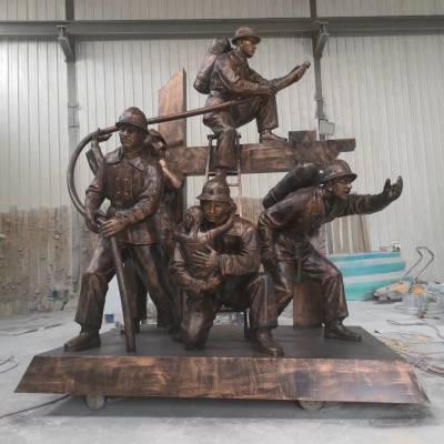 消防人雕塑 树脂仿铜消防员 郴州中心公园玻璃钢消防主题雕塑