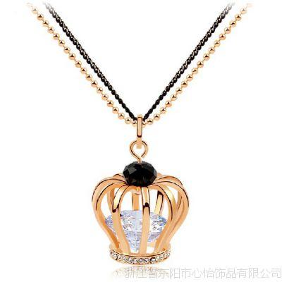 韩版时尚女士皇冠毛衣链  镶嵌AAA级锆石毛衣链吊坠