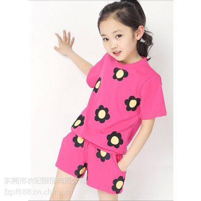 2016夏季儿童新款时尚潮流韩版短袖短裤套装 夏季地摊热销儿童夏季纯棉套装