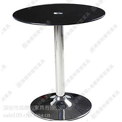 咖啡厅黑色钢化玻璃咖啡桌 现代时尚圆形二人位餐桌 左岸咖啡指定专用高档咖啡桌