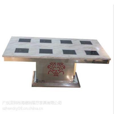 促销 时尚钢化玻璃火锅桌 雕花火锅店桌子 鸡公煲火锅桌 厂家定做