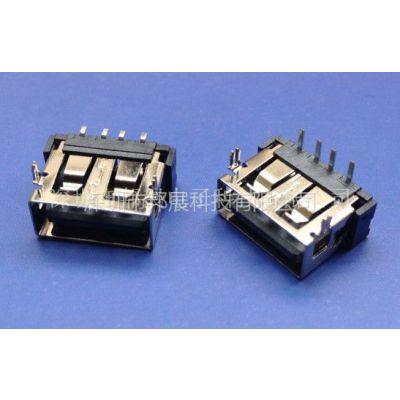 供应插板DIP-正向USB-AF短体10.0/10.6母座(前两脚 鱼叉式 铜壳)