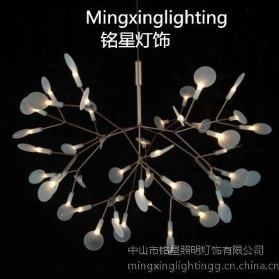 LED雪花灯厂家批发白色叶子树杈吊灯白叶子萤火虫吊灯LED雪花吊灯
