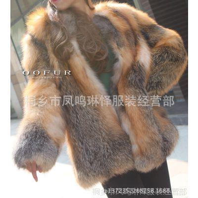 韩国 官网1:1定制 金岛狐红狐 整皮 狐狸毛皮草外套 中长款