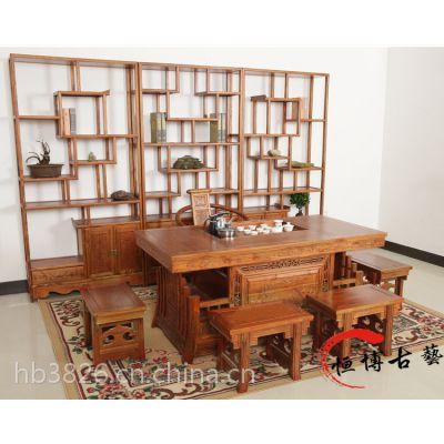 茶桌椅组合实木仿古中式家具 榆木功夫茶桌茶台 战国将军