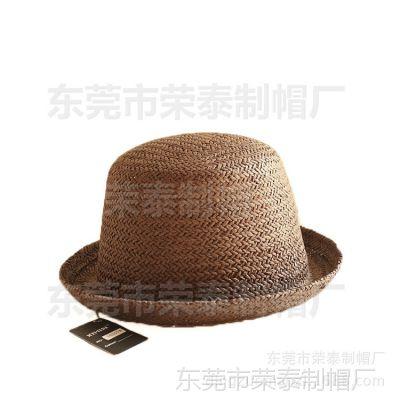 夏季女士小圆顶帽子礼帽 韩版遮阳小草帽 可爱女士草编纸草帽子
