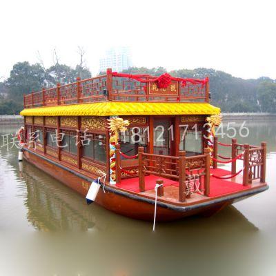 浙江湖州观光木船去哪儿精品画舫 仿古木船 餐饮船 影视道具 电动船 休闲旅游客船