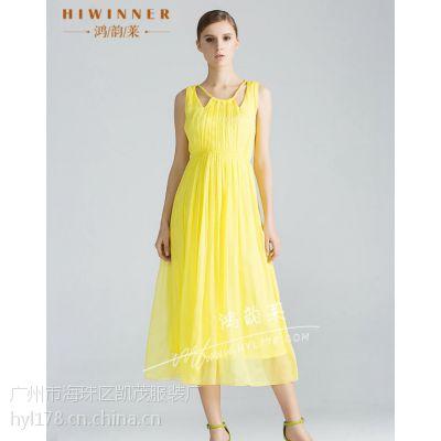 杭州哪里可以批发到高档品牌精品桑蚕丝连衣裙2015一定要抢