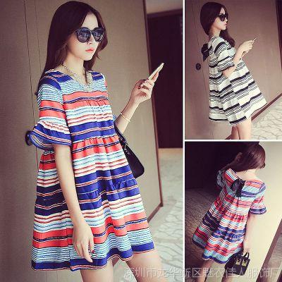 2015夏季新款韩版条纹显瘦加肥大码女装胖mm雪纺棉麻短袖连衣裙
