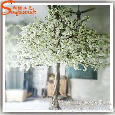 仿真大樱花树 仿真白色樱花树 餐厅工程案例装饰花树