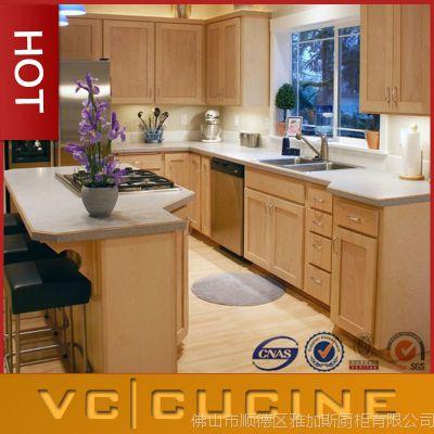 厨房整体实木橱柜 佛山橱柜厂定制 美式柜体实木台面