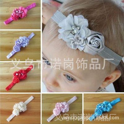 供应镶钻珍珠花朵婴儿弹力发带 手工玫瑰花时尚宝宝发带