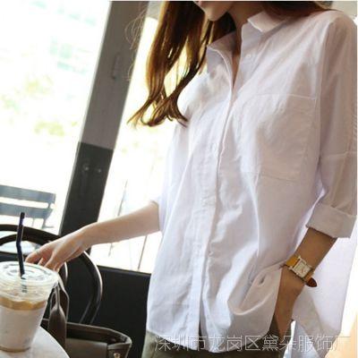 2015韩国代购东大门夏季新款BF风格翻领纯色长款宽松女式衬衫