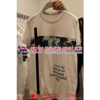 2015春夏新款韩国代购东大门女装***女式圆领花朵字母短袖女T桖