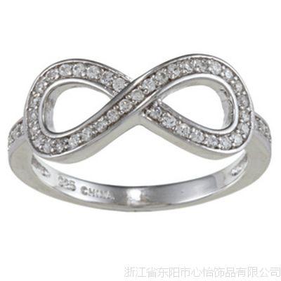 工厂定做  数字样式奢华环保铜镀戒指 女款 蜡镶微镶锆石戒指