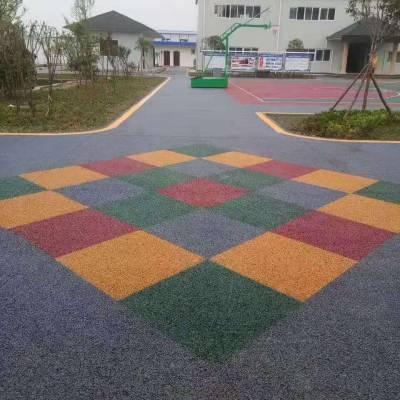 上海郑州胶粘石透水地坪工程 生态环保路面 胶粘石透水地坪