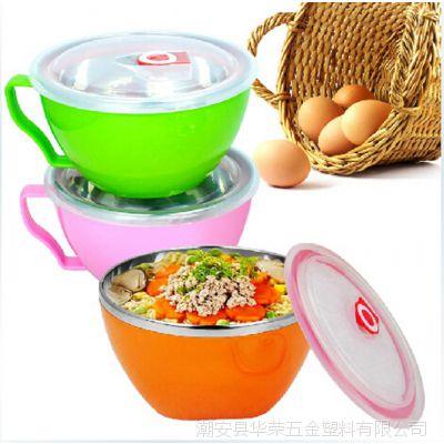 厂家直销韩式创意泡面碗 双层隔热带盖泡面杯