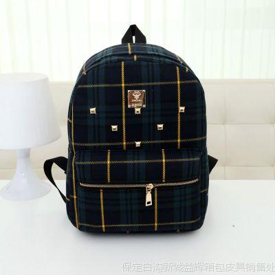 爆款2015欧美春季新款帆布双肩包苏格兰格子印花学生背包女