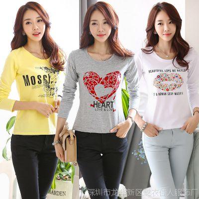 2015秋款韩版女装长袖t恤大码显瘦修身打底衫女纯棉印花t恤衫