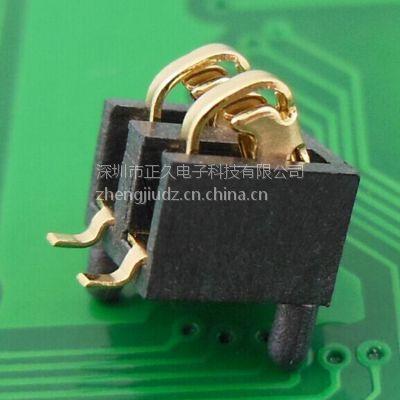 供应2PIN battery connector 电池座卧式ZJ-2P-2.54PH-5.5H带柱