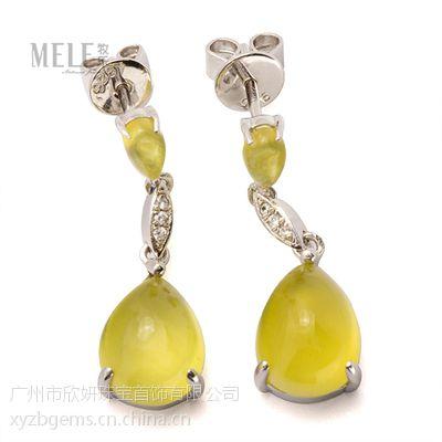 牧乐珠宝天然澳大利亚葡萄石耳钉925纯银个性定制优雅时尚女款