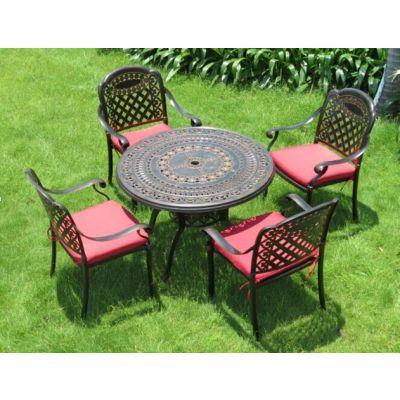 别墅休闲铸铝桌椅,公园休息铸铝座椅,楚工广场休闲桌椅