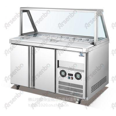 广东省赛百味同款冷柜操作台 雅绅宝TC04L2F汽缸柜多少钱一台