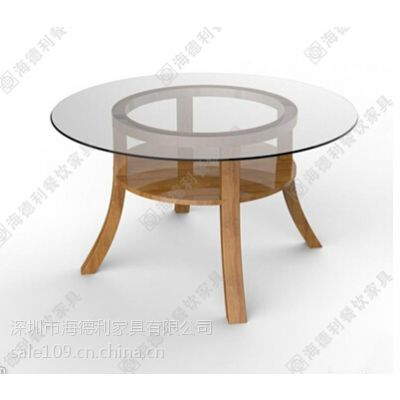 现代多位圆形玻璃钢咖啡桌 实木桌脚多功能咖啡桌 高档咖啡厅啡桌厂家热卖