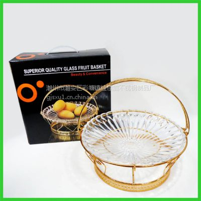 高质量玻璃水果盘欧式创意果篮多用点心提篮家居高档酒店用品