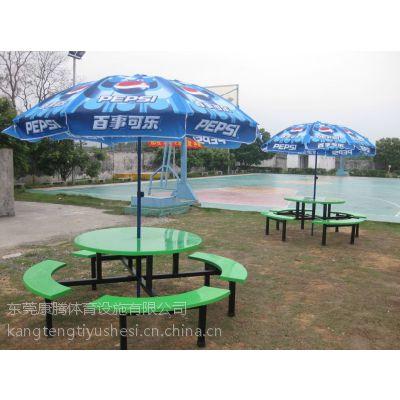 8人位连体餐桌 学生食堂餐桌椅 户外擦伞休闲桌椅组合康腾体育