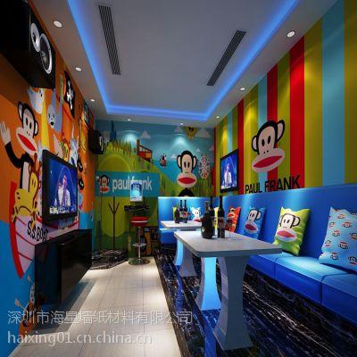 ktv包房3D壁画|大嘴猴图案墙画|无纺布壁画墙画