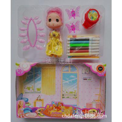芭比芭芘迷糊娃娃水彩笔/画本美指甲片蝴蝶过家家小商品批发