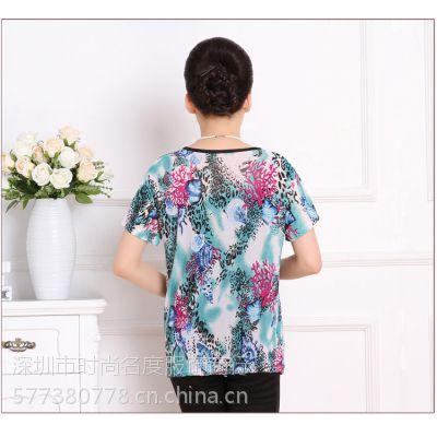 厂家直销夏季新款女装休闲大码t恤妈妈装中老年短袖冰丝棉t恤批发
