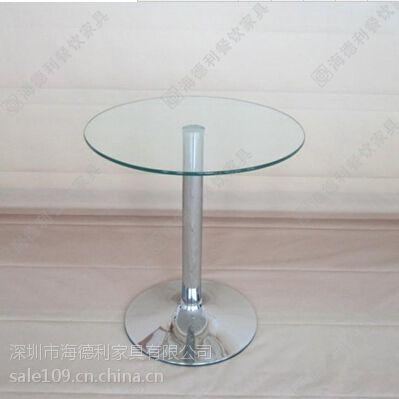 简约小圆形两人位优质钢化玻璃西餐桌 西餐厅咖啡厅多功能玻璃西餐桌