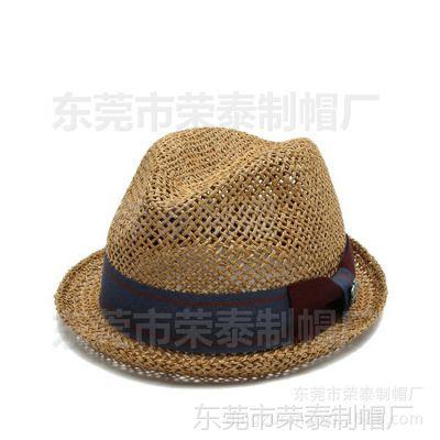 2015新款韩版儿童爵士帽 夏季时尚儿童草帽 英伦风复古草编爵士帽
