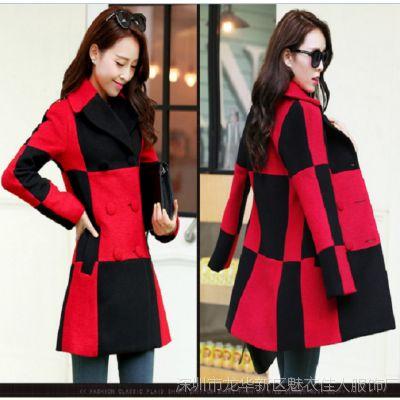 新款韩版大码中长羊毛呢外套双排扣直通黑白格子韩范气质大衣潮