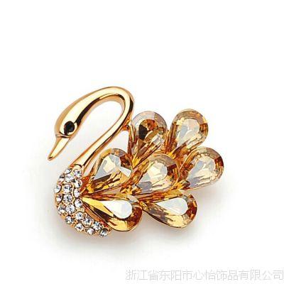 ***奥地利水晶天鹅胸针高档胸花女 饰品 别针 时尚 铜银饰品工厂