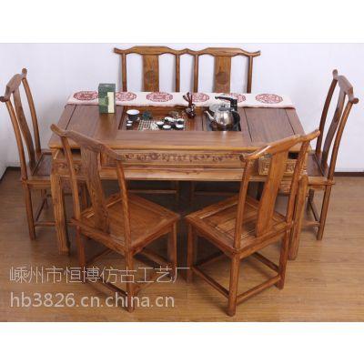 特价仿古茶桌实木功夫茶桌榆木茶台中式茶几四抽茶桌椅组合