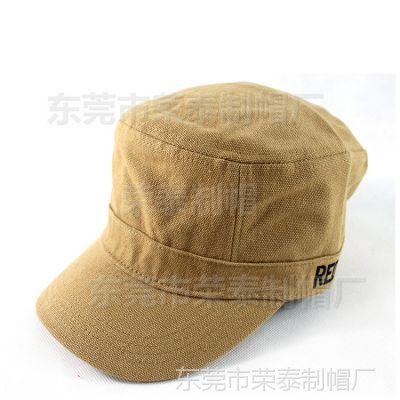 新款简约卡其色洗水全棉舒适平顶帽军帽 欧美新潮平顶帽男女通用